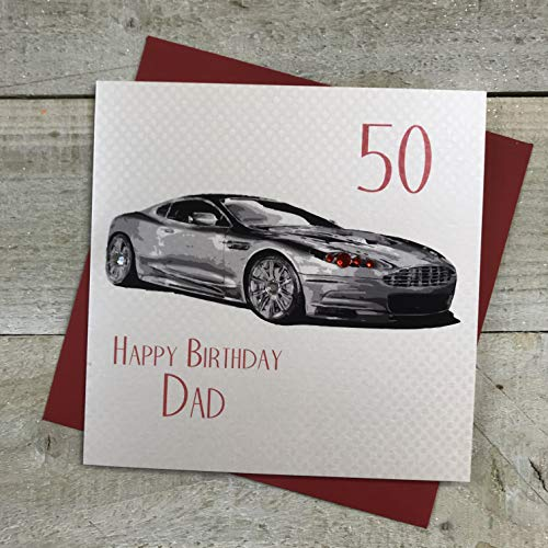 WHITE COTTON CARDS Sports Car 50 Happy Dad Handmade 50th Birthday Card, SB51-50 from WHITE COTTON CARDS