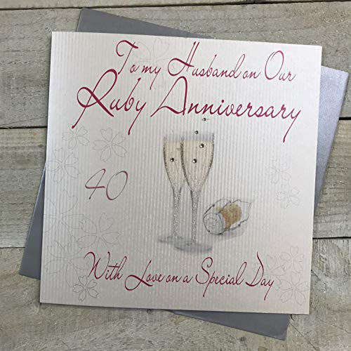 WHITE COTTON CARDS To My Husband, Handmade Large 40th Ruby Anniversary Card Champagne Glasses, XLWA40H from WHITE COTTON CARDS