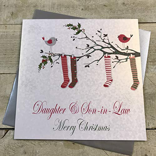 WHITE COTTON CARDS Daughter & Son-in-Law Merry Handmade Christmas Card (Stockings) Code x14-82 from WHITE COTTON CARDS