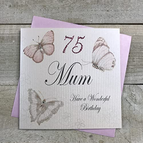 WHITE COTTON CARDS Handmade 75 Mum Have a Wonderful Vintage Butterflies 75th Birthday Card, White, PM75 from WHITE COTTON CARDS