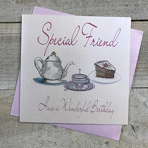 WHITE COTTON CARDS Handmade Birthday Card for Special Friend Tea and Cakes, White, WB200 from WHITE COTTON CARDS
