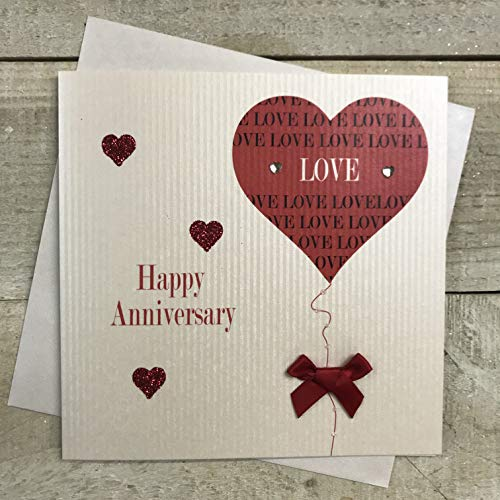 WHITE COTTON CARDS Happy Anniversary Handmade Card with Heart/Love and Balloon, White, PD190 from WHITE COTTON CARDS
