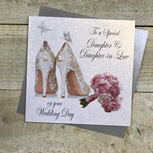 WHITE COTTON CARDS Bouquet to A Special Daughter & Daughter-in-Law Day Handmade Gay Wedding Card, White, PD144a from WHITE COTTON CARDS