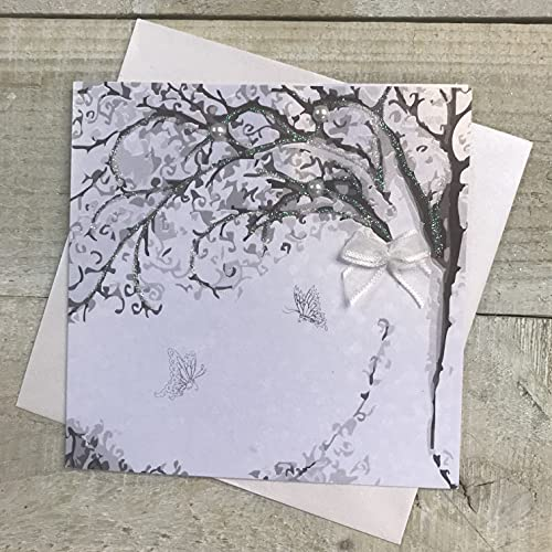 WHITE COTTON CARDS Small Blank Tree Design Card, PD132 from WHITE COTTON CARDS