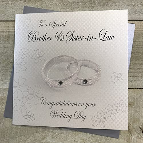 WHITE COTTON CARDS Rings to a Special Brother and Sister-in-Law Day Handmade Wedding Card, White, WB10 from WHITE COTTON CARDS