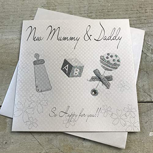 White Cotton Baby Card New Mummy and Daddy Rattle from WHITE COTTON CARDS