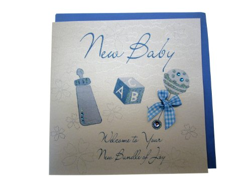 White Cotton Baby Card Rattle (Blue) from WHITE COTTON CARDS