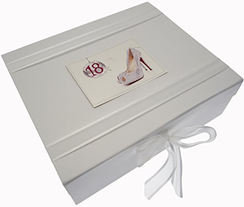 White Cotton Cards 18th Birthday Keepsake Box Glitter Ball and Shoes (Large) from WHITE COTTON CARDS