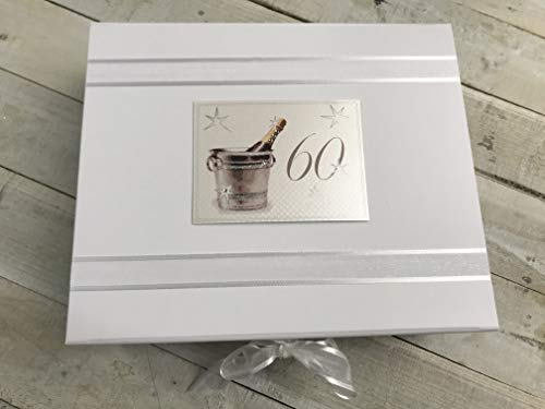 White Cotton Cards 60th Birthday Keepsake Box, Large, Silver Champagne from WHITE COTTON CARDS