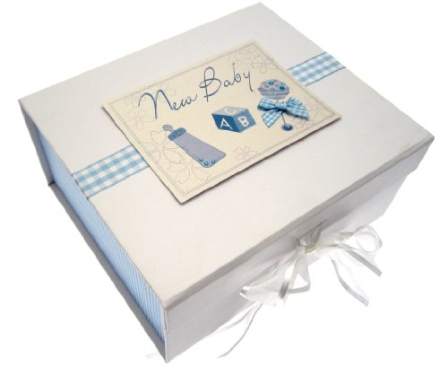 White Cotton Cards Baby A5 Keepsake Box (Blue Rattle) from WHITE COTTON CARDS