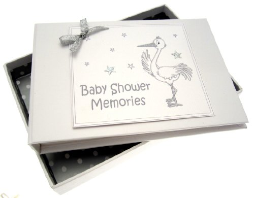 White Cotton Cards Baby Shower Tiny Photo Album (Silver Stork) from WHITE COTTON CARDS