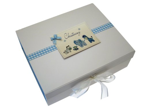 White Cotton Cards Christening A4 Toys Range Keepsake Box (Blue) from WHITE COTTON CARDS