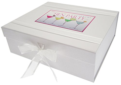WHITE COTTON CARDS Neon Cocktails Party Keepsake Box, Board White from WHITE COTTON CARDS