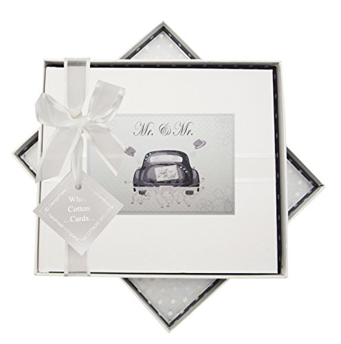 White Cotton Cards MR3 Mr & Mr Wedding Car Design Handmade Guestbook from WHITE COTTON CARDS