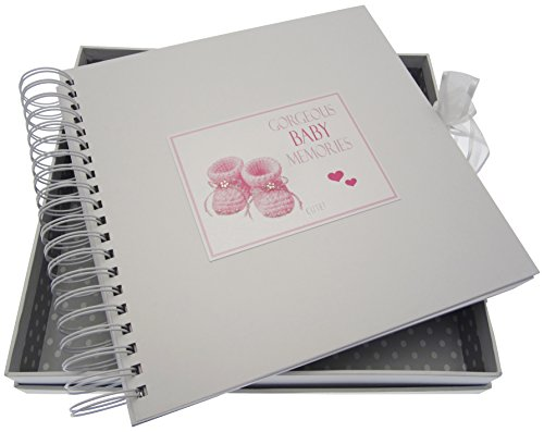 White Cotton Cards Gorgeous Baby Memories, Card & Memory Book, Pink Booties from WHITE COTTON CARDS