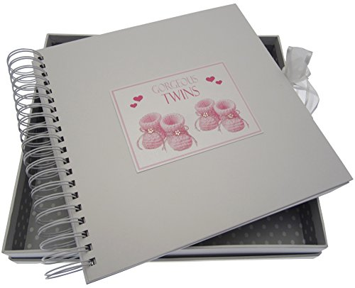 White Cotton Cards Gorgeous Twins, Card & Memory Book, Pink Booties from WHITE COTTON CARDS