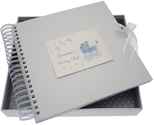 White Cotton Cards Grandma's Boasting Card/Memory Book (Blue Pram and Bunting) from WHITE COTTON CARDS