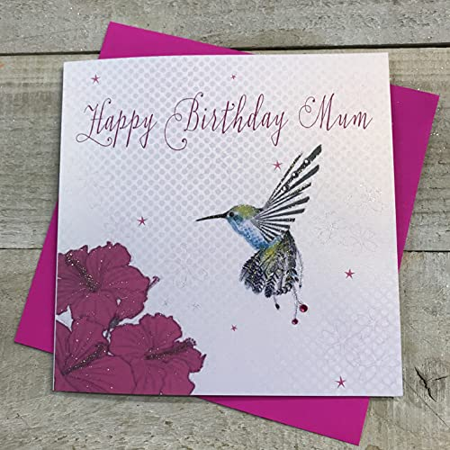 WHITE COTTON CARDS Handmade Happy Mum Birthday Card Hummingbird, White, WB189 from WHITE COTTON CARDS
