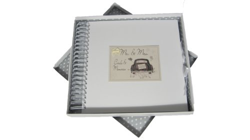 White Cotton Cards Mr and Mrs Wedding Cards and Memories Book Wedding Car Range from WHITE COTTON CARDS