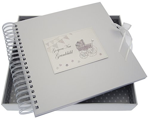 White Cotton Cards New Grandchild Card/Memory Book (Silver Pram and Bunting) from WHITE COTTON CARDS
