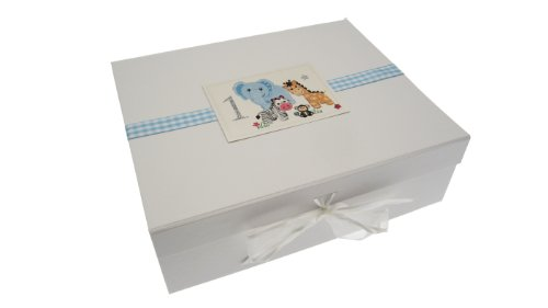 White Cotton Cards Safari Animals Age 1, Large Keepsake Box (BLUE) from WHITE COTTON CARDS