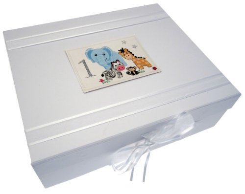 White Cotton Cards Safari Animals Age 1 Large Keepsake Box, Code SAF2X from WHITE COTTON CARDS