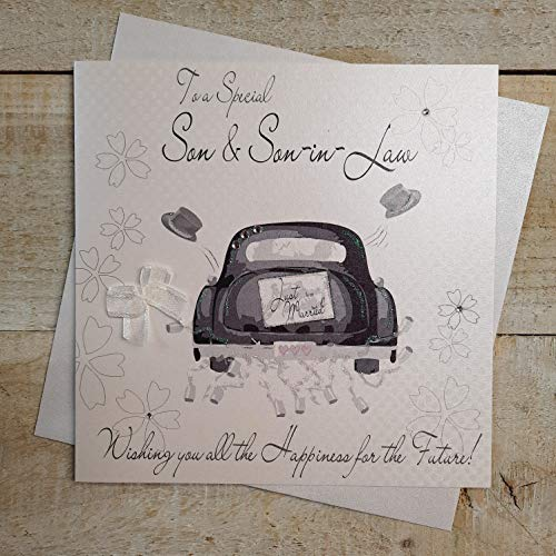 WHITE COTTON CARDS Son and Son-in-Law Handmade Wedding Card with Civil Partnership Car from WHITE COTTON CARDS