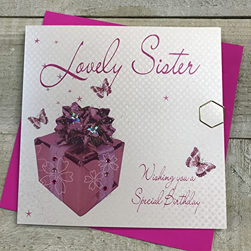 WHITE COTTON CARDS Lovely Sister Wishing You a Special Birthday Handmade Card, Pink, wb190 from WHITE COTTON CARDS
