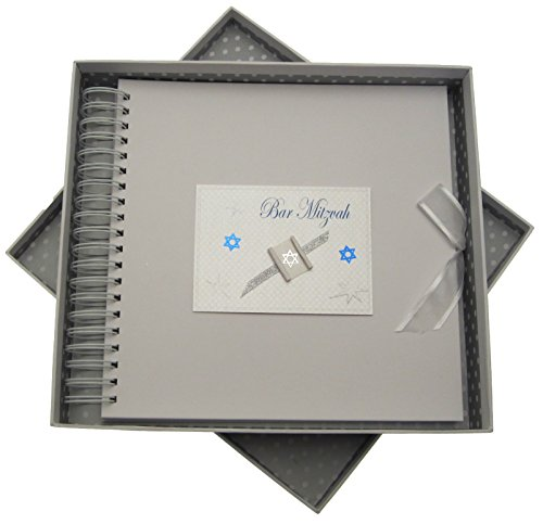 white cotton cards Bar Mitzvah Card and Memory Book Jewish Gift (Boys) from WHITE COTTON CARDS
