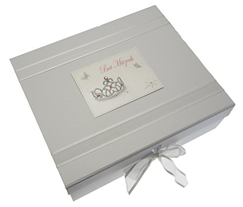 white cotton cards Bat Mitzvah Keepsake Box Jewish Gift (Large, Girls) from WHITE COTTON CARDS