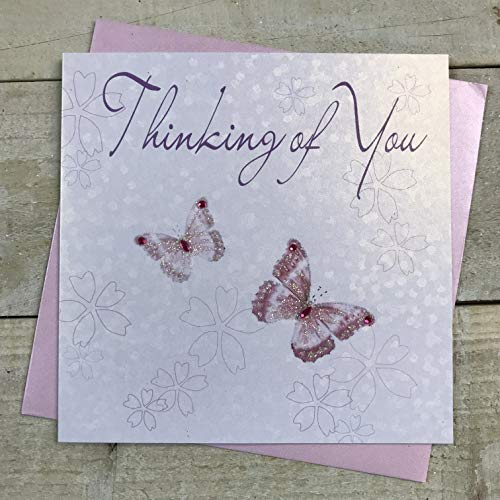 WHITE COTTON CARDS Butterflies Thinking of You Handmade Greetings Card, White, WB62 from WHITE COTTON CARDS