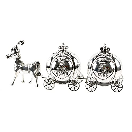 Silver plated new baby christening first curl and tooth trinket cinderella horse and carriage - Gift box present from WIDDOP
