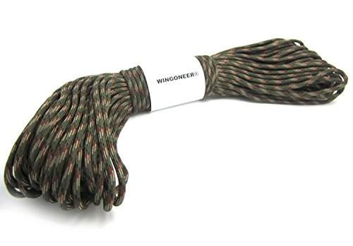 550 Paracord Mil Spec Type III 7 strand parachute cord Olive Green Camo 100 feet from WINGONEER