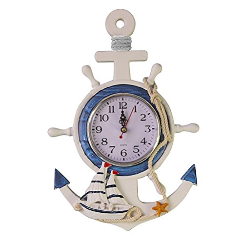 WINOMO Mediterranean Style Anchor Clock Beach Sea Theme Nautical Ship Wheel Rudder Steering Wheel Decor Wall Hanging Decoration from WINOMO