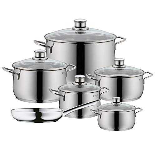 WMF Pot Set 6-Piece Diadem Plus Pouring Rim Glass Lid Cromargan® Stainless Steel Polished Suitable for Induction Hobs Dishwasher-Safe from WMF