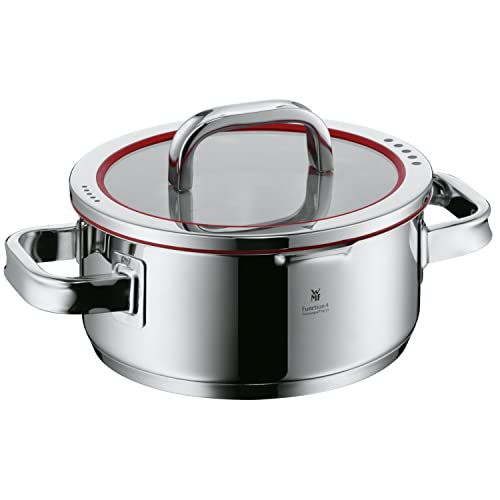 WMF cookware Ø 20 cm approx. 2,5l Function 4 Inside scaling lid - pour off or decant liquids without spilling to keep your dishes and cooker clean. Made in Germany hollow side handles glass lid Cromargan stainless steel brushed suitable for all stove tops including induction dishwasher-safe from WMF