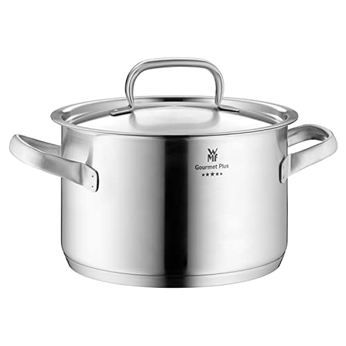 WMF cookware Ø 24 cm approx. 5,7l Gourmet Plus Inside scaling  vapor hole Made in Germany hollow side handles metal lid Cromargan stainless steel  suitable for all stove tops including induction dishwasher-safe from WMF