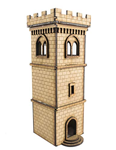 War World Gaming Medieval Town Watchtower Outpost with Battlements - 28mm Fantasy Wargame Terrain Model Diorama from War World Gaming