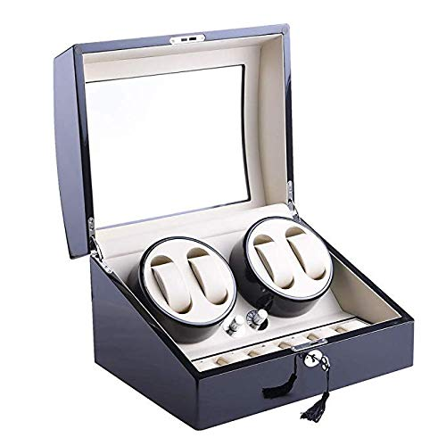 WWSUNNY Automatic Rotate Watch Winder 4+6 Storages Box Case (Wood Shell, Leather Pillow) White from WWSUNNY