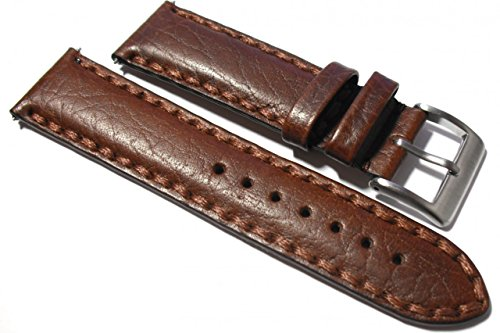 20mm Buffalo Grain Brown Italian Leather Watch Strap. Hand Stitched. from Generic