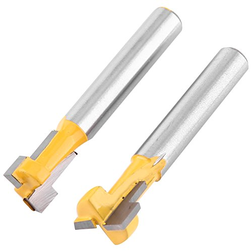 "2Pcs 1/4"" Shank Steel Handle T-Slot Cutter, 3/8"" & 1/2"" Woodworking Router Bit from Walfront"