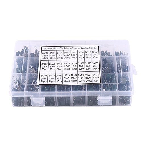 660pcs 24 Values Polyester Film Capacitors Assortment Kit 100V 0.22nF to 470nF with Clear Plastic Box from Walfront