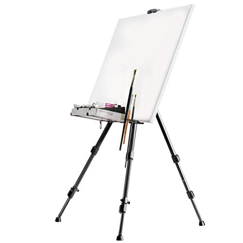 Walimex pro Aluminium Studio Easel XL 180 cm - Large easel with wide range of use, for canvas up to 140cm height and 4cm depth, only 1,12kg, holder for colours, brushes, incl. bag from Walimex Pro