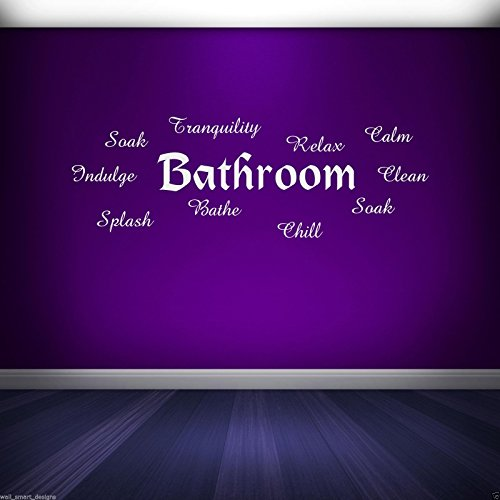 Bathroom Words Wall Art Sticker Bathroom Quote Decal Mural Stencil Transfer 2 WSDWQ1 from Wall Smart Designs
