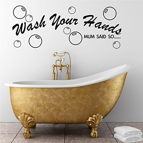 Bathroom wall quote Wash Hands Wall Sticker Decal Transfer Mural Stencil Art WSD656 from Wall Smart Designs