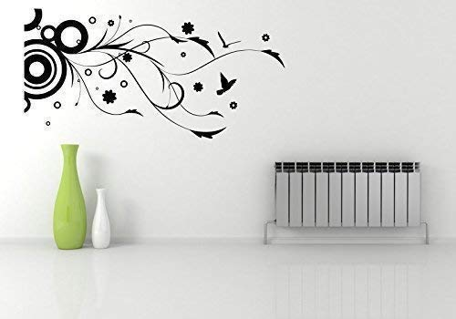 CIRCLE BIRDS FLOWER FLORAL WALL ART WALL STICKER DECAL MURAL STENCIL VINYL PRINT WSD589 from Wall Smart Designs