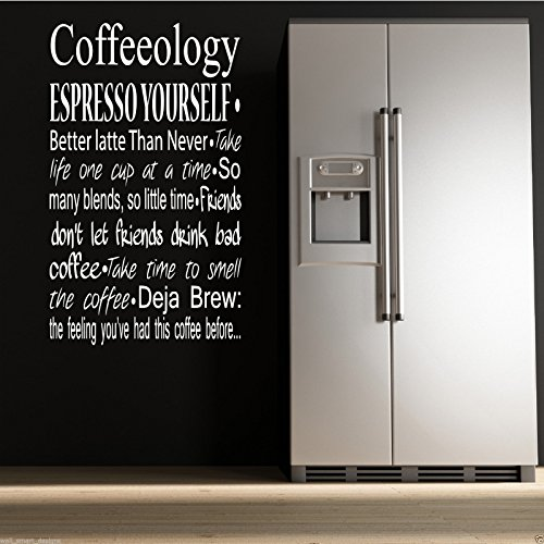 COFFEE COFFEEOLOGY KITCHEN Wall Art Sticker Quote Decal Mural Stencil Transfer WSD640 from Wall Smart Designs