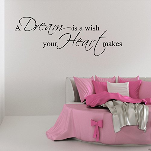Dream Wish Heart Wall Art Sticker Quote Bedroom Decal Mural Stencil Transfer WSD473 from Wall Smart Designs
