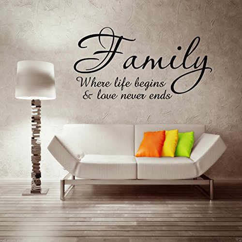 FAMILY LOVE LIFE BEGINS Wall Art Sticker Quote Decal Mural Transfer Stickers WSD705 from Wall Smart Designs