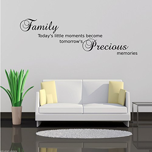 FAMILY PRECIOUS MOMENTS Wall Art Sticker Lounge Quote Decal Mural Transfer WSD595 from Wall Smart Designs